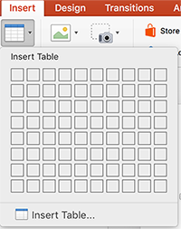 The Insert Table pane for picking the number of rows and columns in the table.