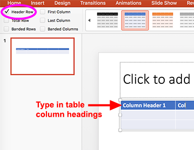 The Table Design pane with the header row checked and headers being typed into the table.