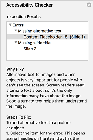 The Accessibility Checker pane in PowerPoint showing several issues with text on why they should be fixed and how.