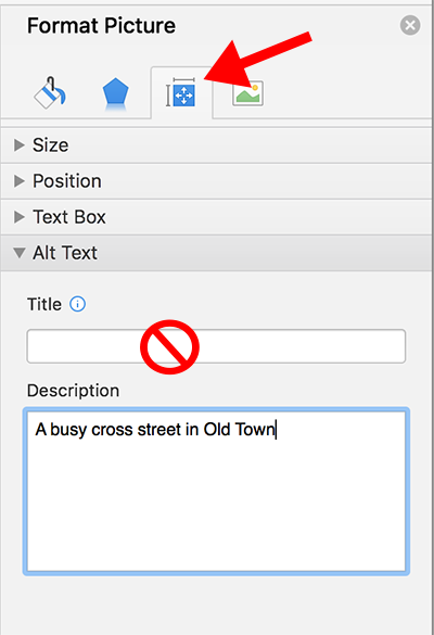 The Format Picture pane showing the Alt tag screen and the Description field for added alternative text