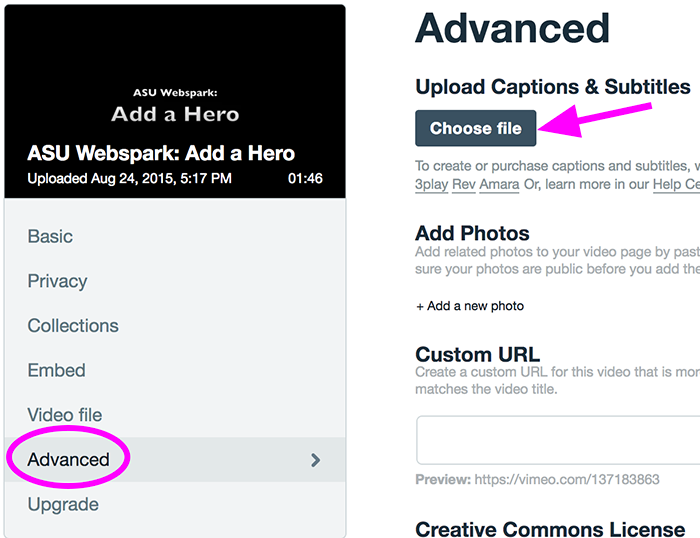 The Vimeo screen to upload an .srt file