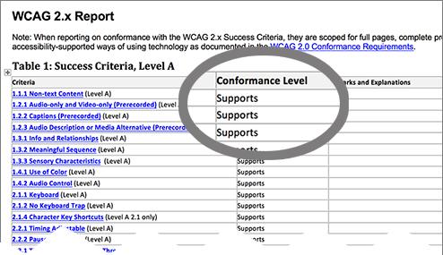 Example WCAG VPAT showing conformance level column